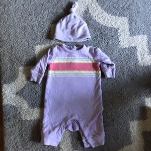 Gymboree baby 0-3 month footless long sleeve & hat